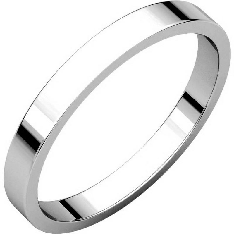 Item # N012525PP - Platinum, plain 2.5 mm wide flat wedding band. The ring is a polished finish. Different finishes may be selected or specified.