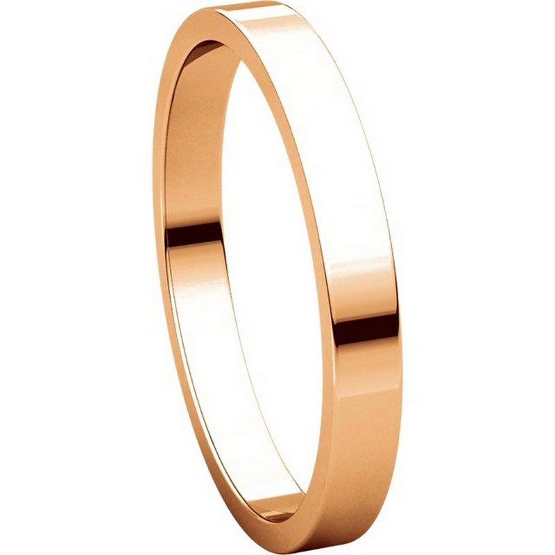 Item # N012525R View 5 - 14K Rose Gold 2.5mm Wide Flat Plain Wedding Band