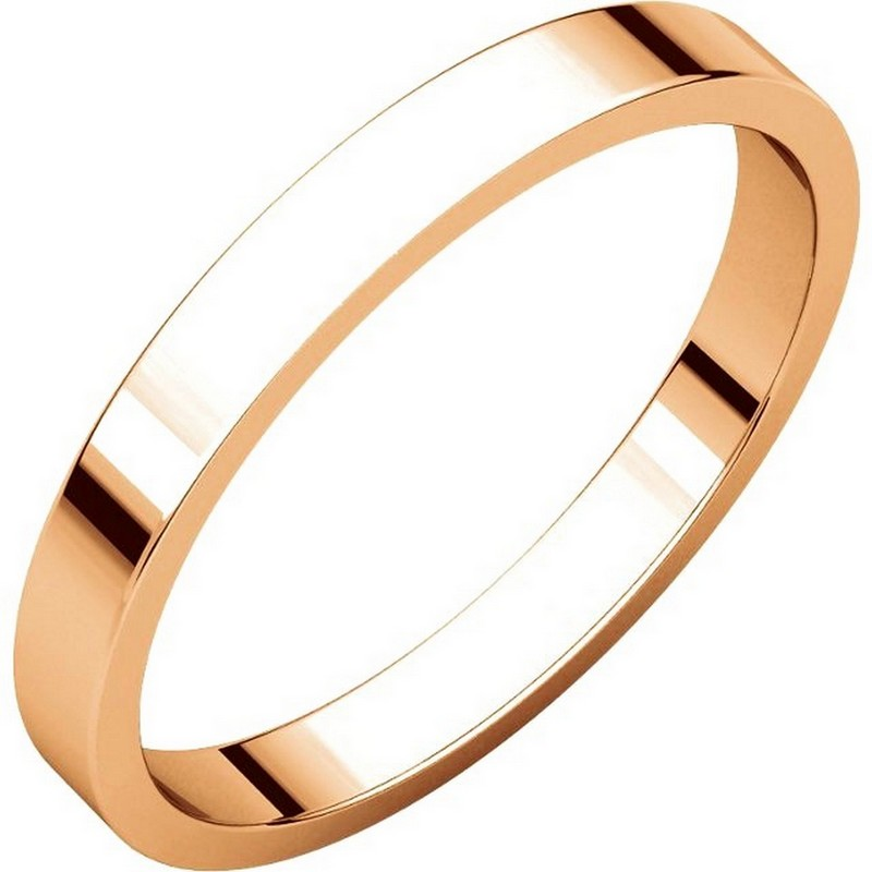 Item # N012525R - 14 kt Rose gold plain 2.5 mm wide flat wedding band. The ring is a polished finish. Different finishes may be selected or specified.