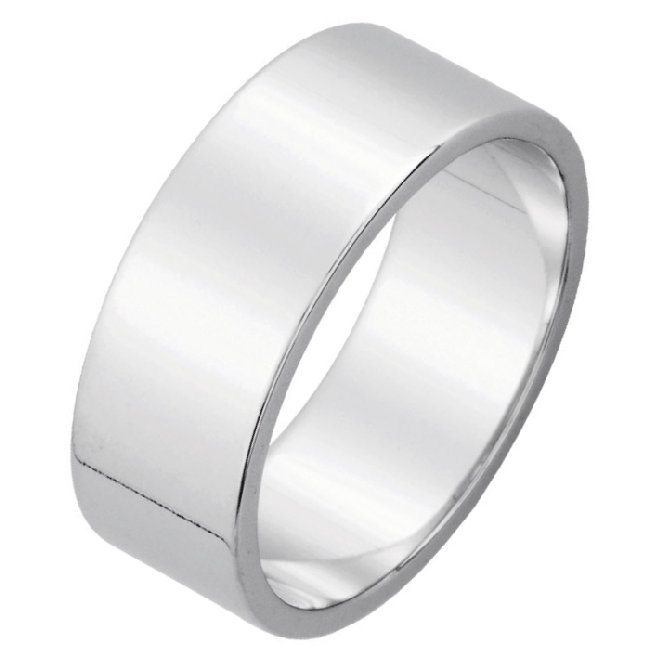 Item # N114771W - 14K white gold, plain, 7.0 mm wide, flat, wedding band. The ring is completely polished. Different finishes may be selected or specified.