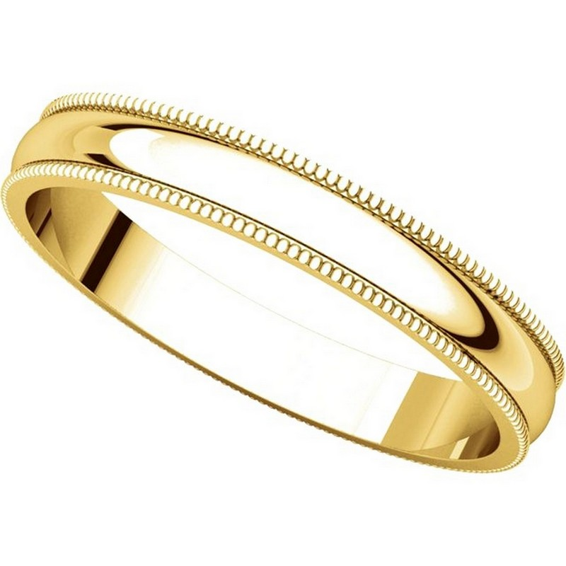 Item # N23853 View 4 - 14K Yellow Gold Milgrain 3MM Wide Plain Wedding Band