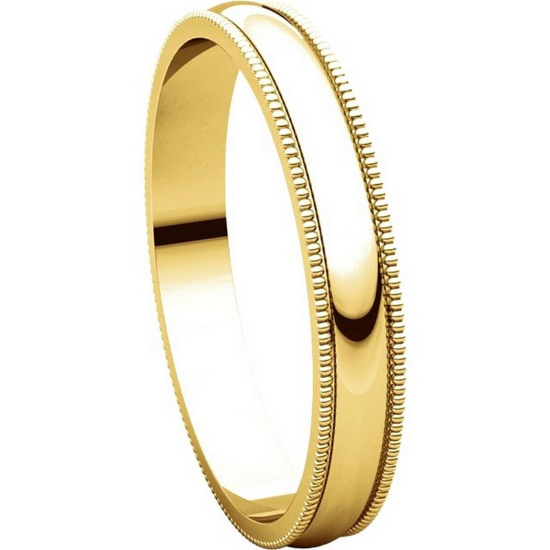 Item # N23853 View 5 - 14K Yellow Gold Milgrain 3MM Wide Plain Wedding Band