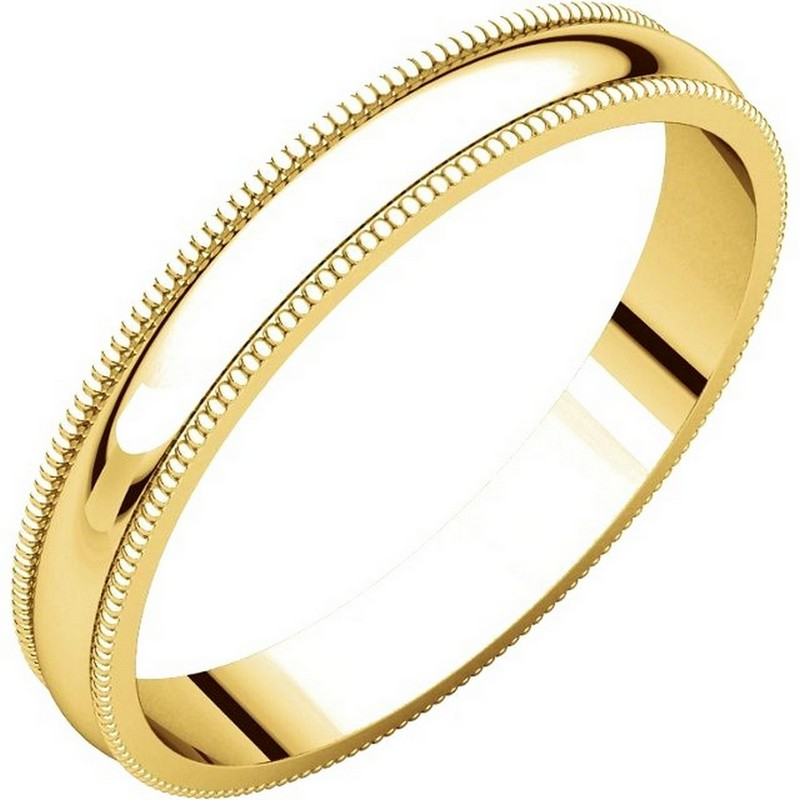 Item # N23853 - 14K gold 3.0 mm wide, milgrain edge wedding band. The finish on the ring is polished. Other finishes may be selected or specified.