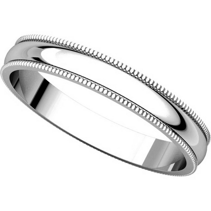 Item # N23853W View 4 - 14K White Gold Milgrain 3 MM Wide Plain Wedding Ring