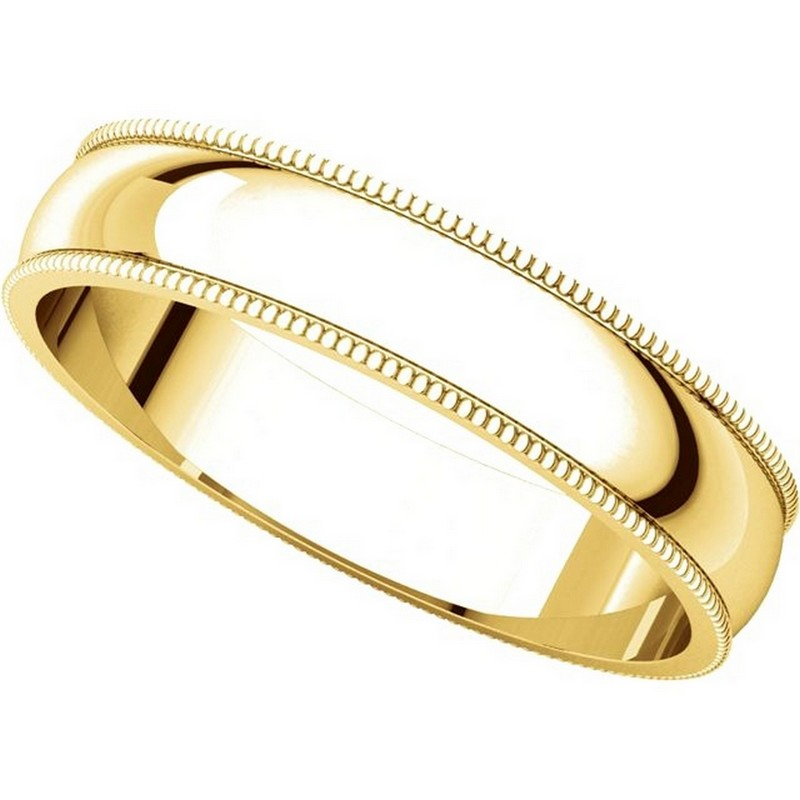 Item # N23864E View 4 - 18K Yellow Gold 4mm Wide Milgrain Plain Wedding Band