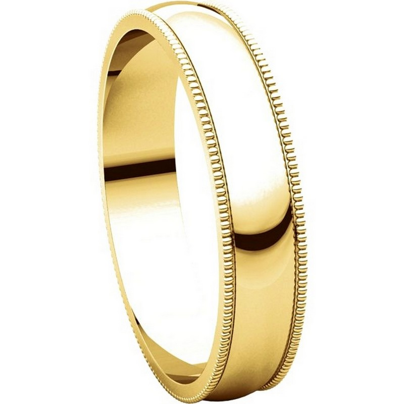 Item # N23864E View 5 - 18K Yellow Gold 4mm Wide Milgrain Plain Wedding Band