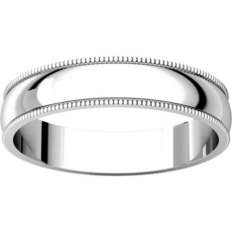 Item # N23864PP View 3 - Platinum Plain Wedding Band 4mm  Milgrain Edge