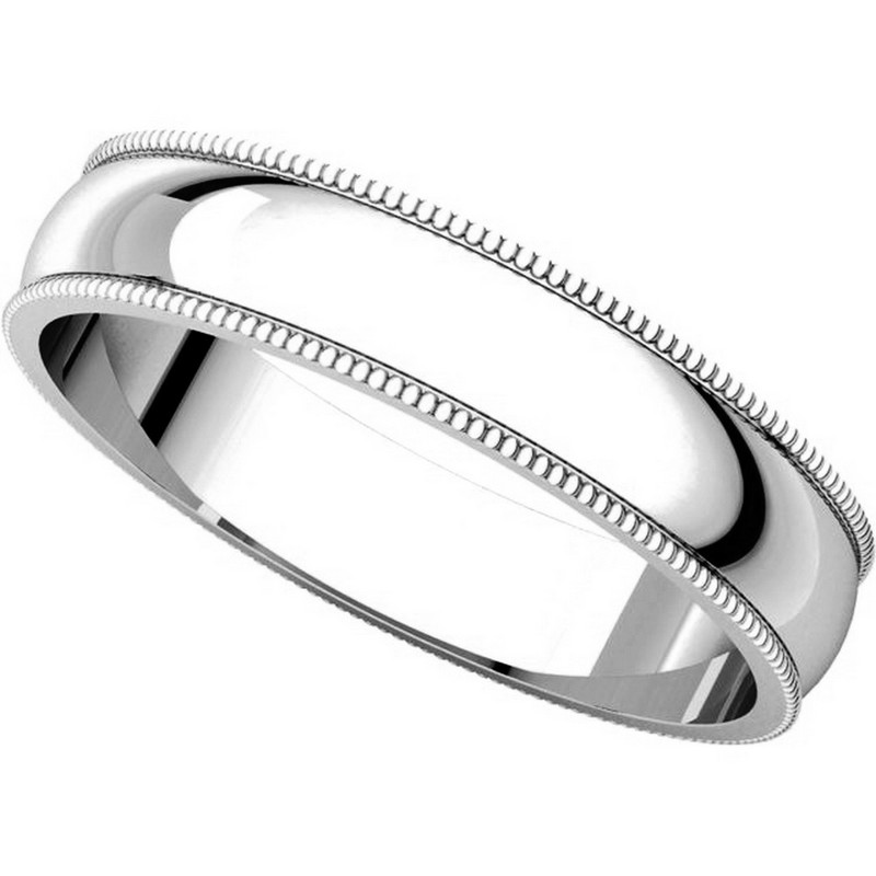 Item # N23864PP View 4 - Platinum Plain Wedding Band 4mm  Milgrain Edge