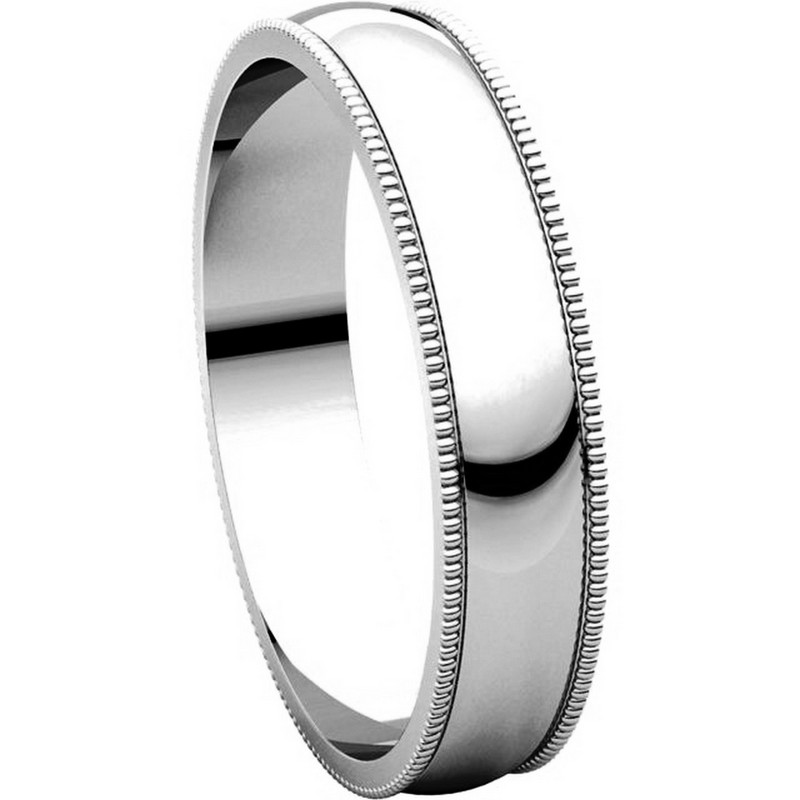 Item # N23864PP View 5 - Platinum Plain Wedding Band 4mm  Milgrain Edge