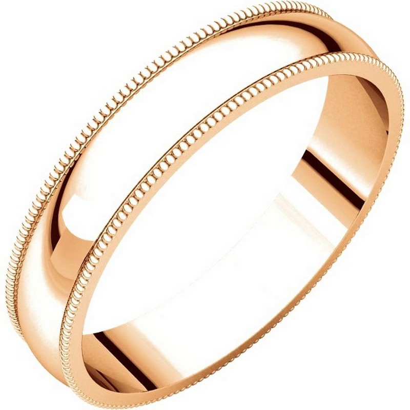 Item # N23864R - 14 kt Rose gold 4.0 mm wide, milgrain edge wedding band. The finish on the ring is polished. Other finishes may be selected or specified.