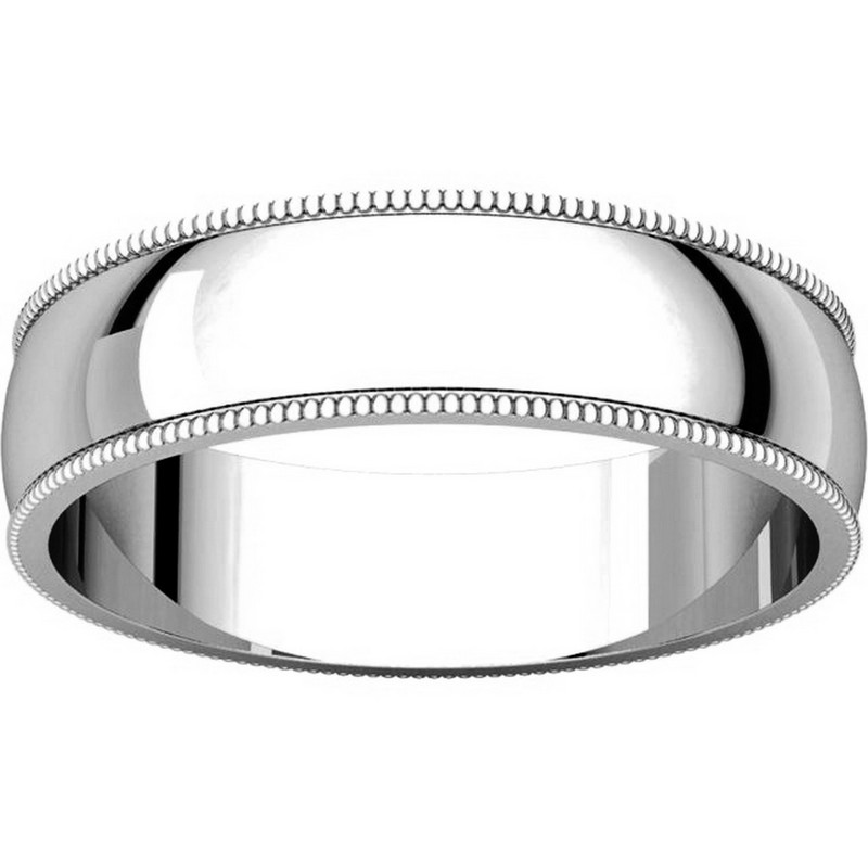 Item # N23875PD View 3 - Palladium 5mm Wide Milgrain Edge Plain Wedding Band