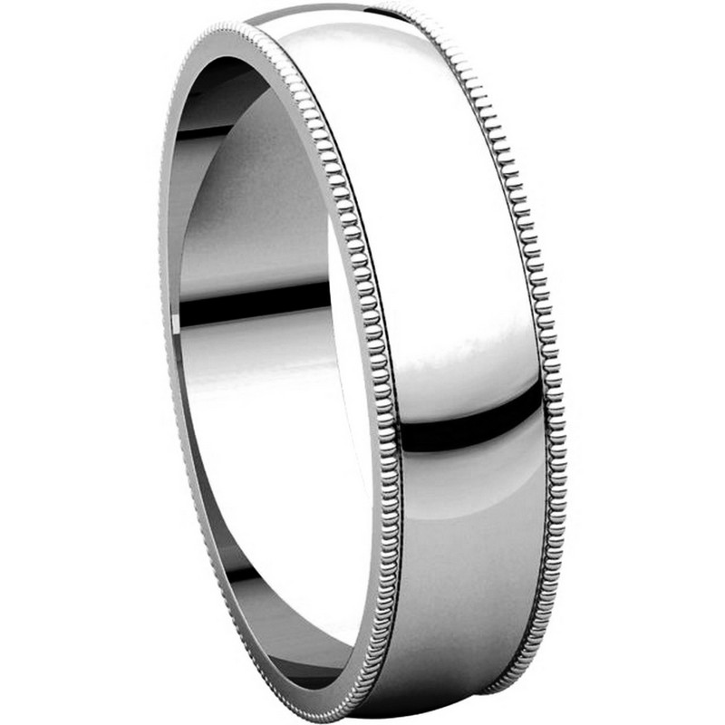Item # N23875WE View 5 - 18K White Gold Milgrain Edge Plain Wedding Ring