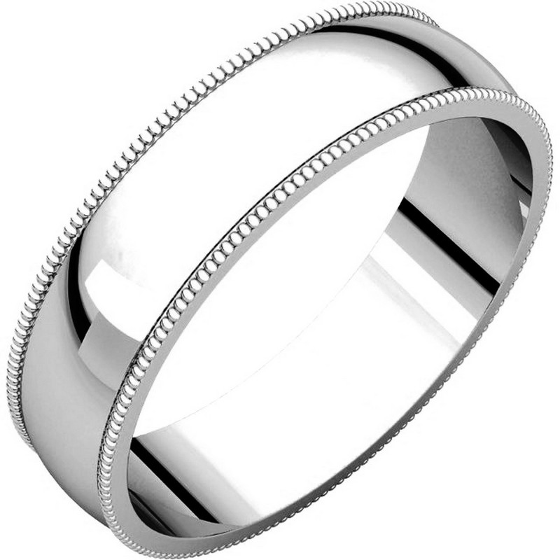 Item # N23875WE - 18kt white gold, 5.0 mm wide, milgrain edge wedding band. The finish on the ring is polished. Other finishes may be selected or specified.