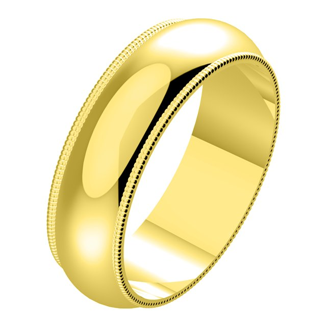Item # N23886E - 18kt gold, 6.0 mm wide, milgrain edge wedding band. The finish on the ring is polished. Other finishes may be selected or specified.