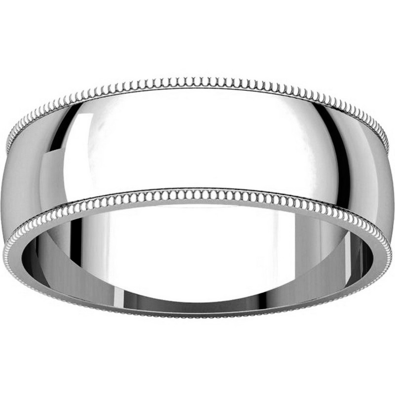 Item # N23886W View 3 - 14K White Gold Milgrain Edge Plain Wedding Ring