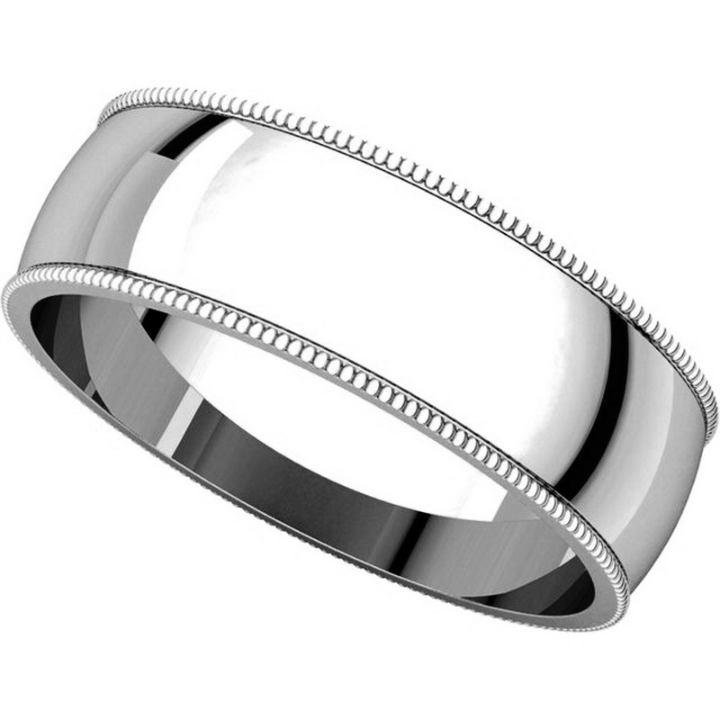 Item # N23886W View 4 - 14K White Gold Milgrain Edge Plain Wedding Ring