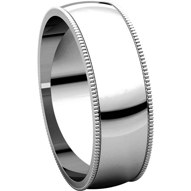 Item # N23886W View 5 - 14K White Gold Milgrain Edge Plain Wedding Ring