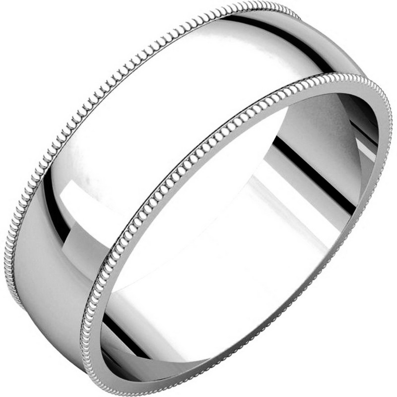 Item # N23886W - 14kt White gold, 6.0 mm wide, milgrain edge wedding band. The finish on the ring is polished. Other finishes may be selected or specified.