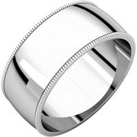 Item # N23898PD - Palladium Milgrain Edge Plain Wedding Band