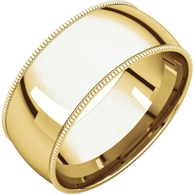 Item # NX238910 - 14K yellow gold 10.0mm wide  milgrain edge wedding band. The finish on the ring is polished. Other finishes may be selected or specified.
