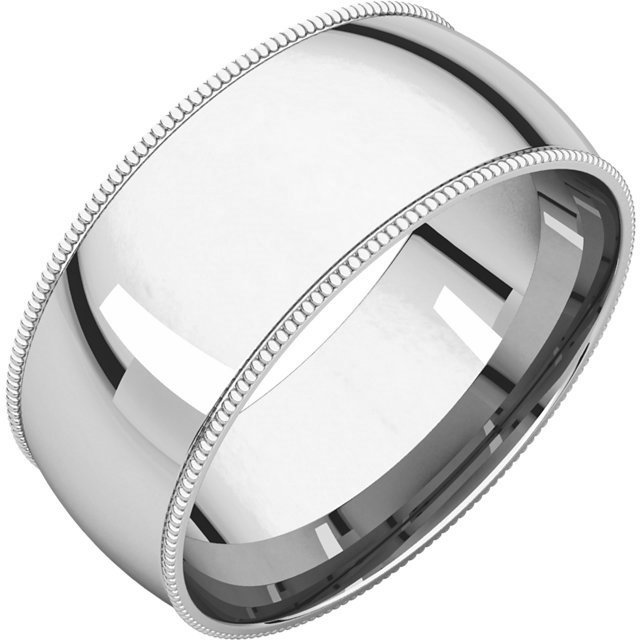 Item # NX238910WE - 18K white gold 10.0mm wide  milgrain edge wedding band. The finish on the ring is polished. Other finishes may be selected or specified.