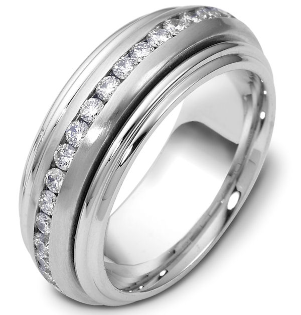 Item # P112161WE - 18K white gold, 8.0 mm wide rotating center, spinning diamond ring, 1.0 ct tw diamonds in a size 6. Diamonds are graded as VS in clarity and GH in color. The center of the ring is matte and the outer edges are polished. Other finishes may be selected or specified.