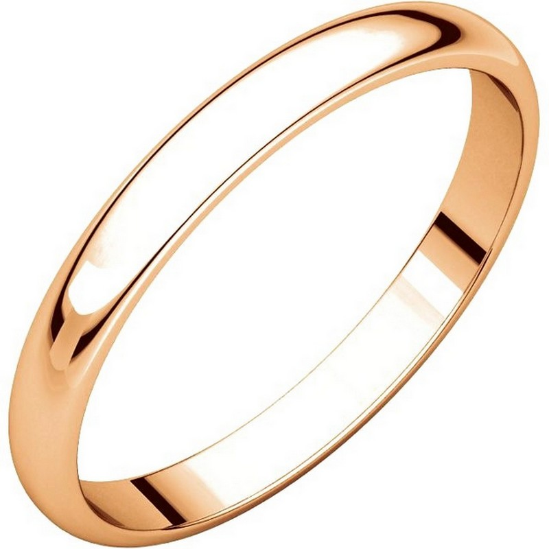 Item # P403825RE - 14 kt Rose Gold Plain 2.5 mm wide half round Wedding Band. The ring is completely polished. Different finishes may be selected or specified.
