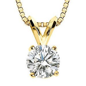Item # P70251 - 14K gold, 0.25 ct round brilliant premium cut, diamond pendant. The diamond is graded as SI1 in clarity H-I in color.