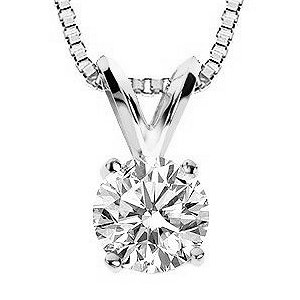 Item # P70751W - 14K white gold, 0.75 ct round brilliant premium cut diamond pendant. The diamond is GIA certified as SI1 in clarity H in color.