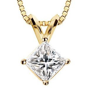 Item # P70752 - 14K gold 0.75 ct princess cut diamond pendant. The diamond is graded as SI1-2 (minimum SI2) in clarity and I in color.