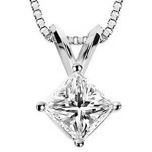 Item # P70752W - 14K white gold 0.75 ct princess cut diamond pendant. The diamond is graded as SI1-2 (minimum SI2) in clarity and minimum I in color.
