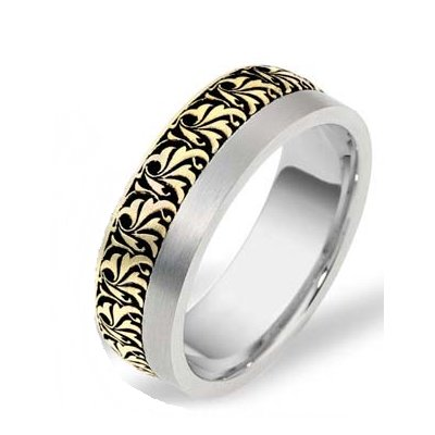 Item # R109371E - 18K two tone gold, 8.0mm wide, comfort fit Romeo wedding band. See J109372 for matching Juliet ring.