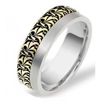 Item # R109371E - 18K Two-Tone Romeo-Juliet Wedding Band