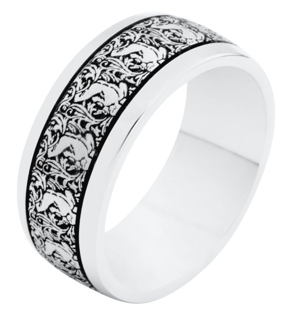 Item # R11011AG - Silver, 8.0mm wide, comfort fit Verona Lace Romeo wedding band.