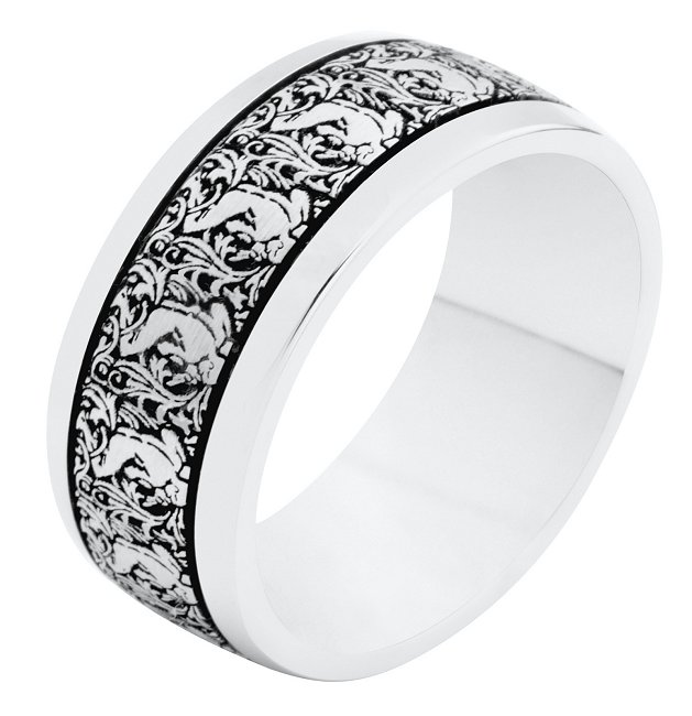 Item # R11011PP - Platinum, 8.0mm wide, comfort fit Verona Lace Romeo wedding band.