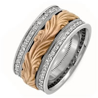 Item # R41493E - 18K Hand crafted Diamond Wedding Band