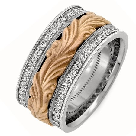 Item # R41493PE - Platinum and 18K gold, hand carved, 10.0 mm wide, comfort fit diamond wedding band. Diamond total weight is approximately 0.80 ct in size 6. The diamonds are graded as VS in clarity and G-H in color. The finish in the center of the ring is a sandblast matte and the outer edges are polished. Other finishes may be selected or specified.
