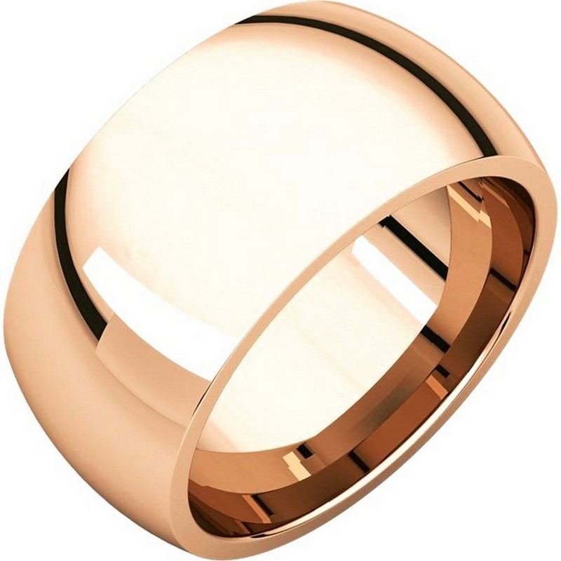 Item # S116872R - 14K Rose gold heavy comfort fit plain 10.0mm wide wedding band. Different finishes are available.