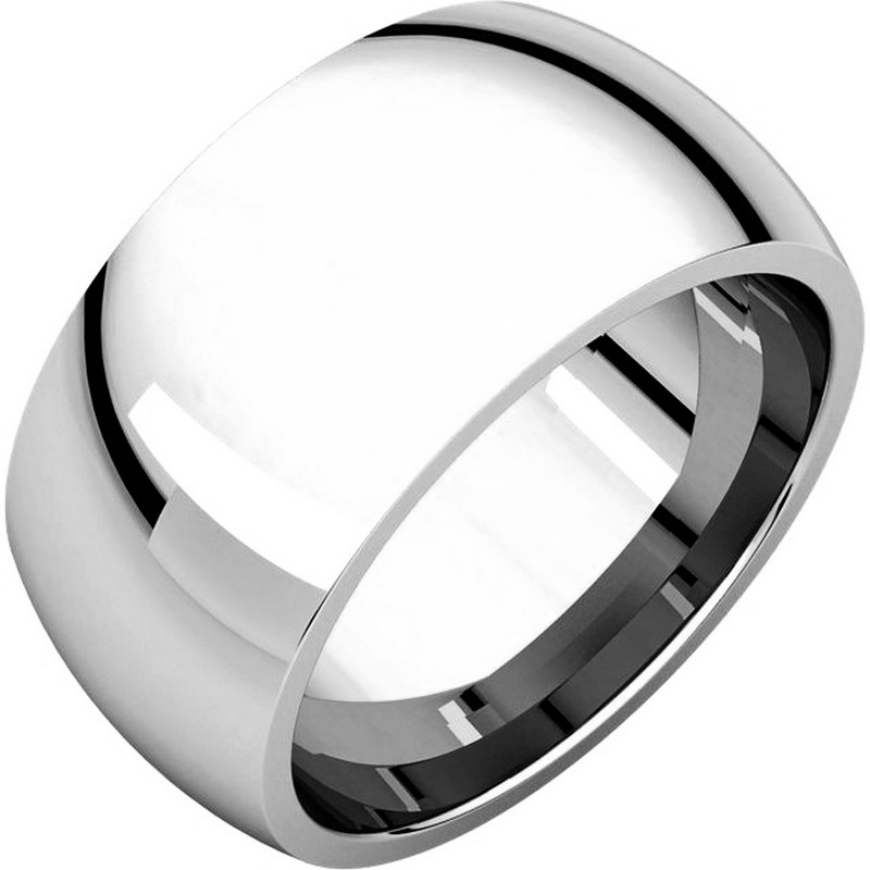Item # S116872W - 14K white gold 10.0mm wide, heavy comfort fit wedding band. Different finishes are available.