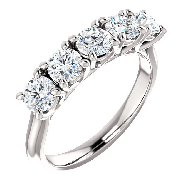 Item # S122808WE - 18K white gold 5 round brilliant diamonds with total weight of 1.25ct. Diamonds are very fine cut matching and graded as VS in clarity G-H in color.