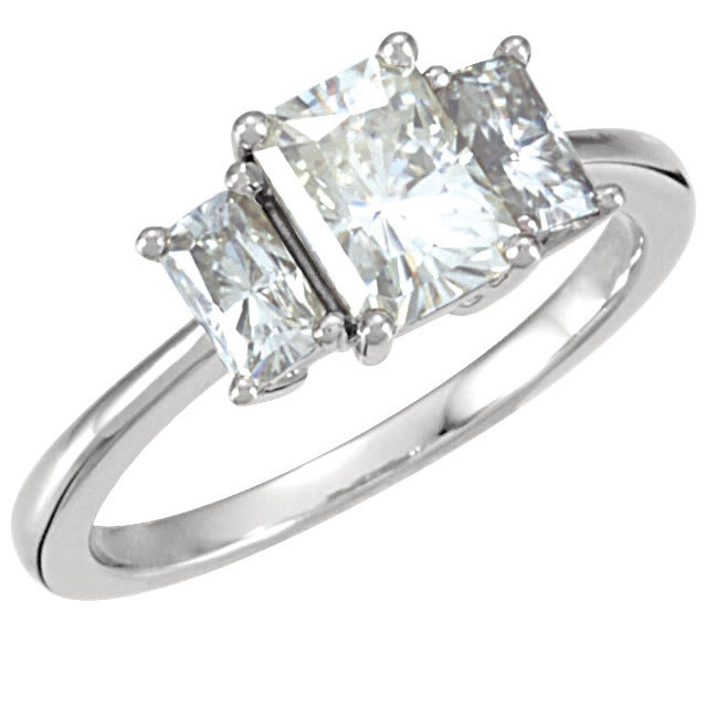 Item # S127664AWE View 2 - 18K 3 Diamond Ring Emerald Cut