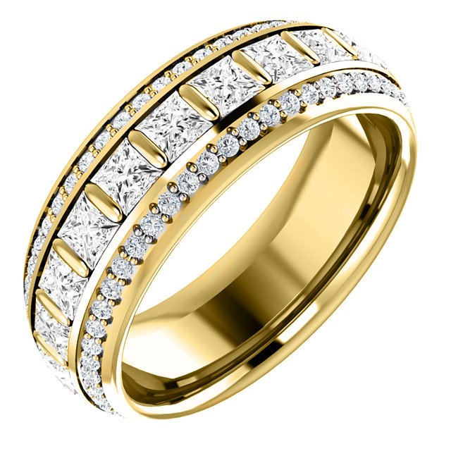 Item # S127667E - Diamond eternity band 18K yellow gold. The ring in size 6 holds 22 princess cut diamonds and 100 round brilliant cut diamonds. the diamonds total weight in size 6.0 is approximately 1.87ct. the diamonds are graded as VS in clarity G-H in color.