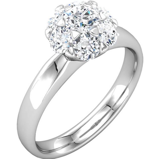Item # S127676WE - One 18K white gold, 7 diamond cluster engagement ring with 1.20ct total diamond weight. Center diamond is 0.33ct and graded as VS2 in clarity H in color.