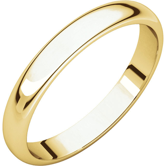 Item # S149002 - 14K gold Plain 2.5 mm wide high dome half round Wedding Band. The ring is completely polished. Different finishes may be selected or specified.