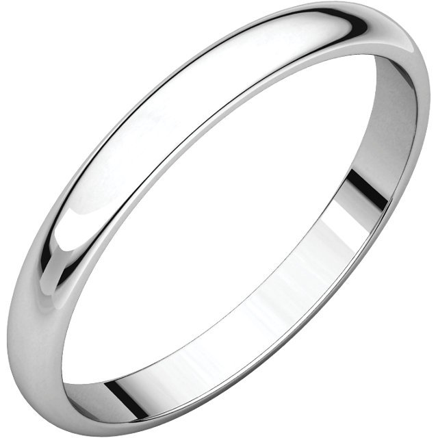 Item # S149002W - 14 kt white gold Plain 2.5 mm wide high dome half round Wedding Band. The ring is completely polished. Different finishes may be selected or specified.