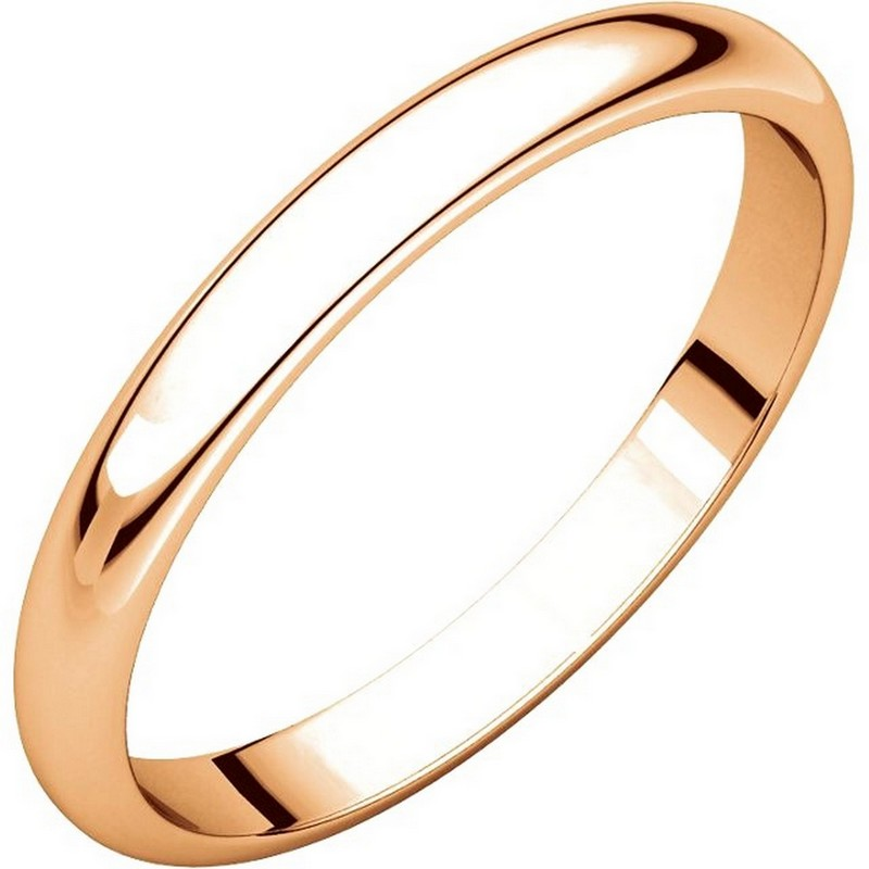 Item # S154002R - 14 kt Rose gold Plain 2.5 mm wide high dome half round Wedding Band. The ring is completely polished. Different finishes may be selected or specified.
