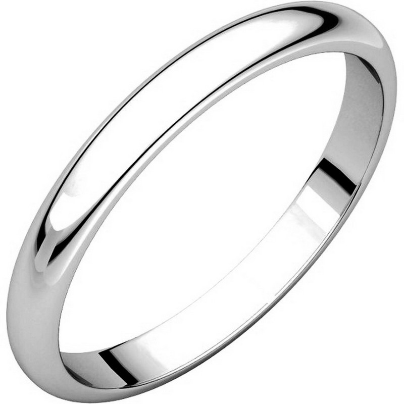 Item # S154002W - 14 kt white gold Plain 2.5 mm wide high dome half round Wedding Band. The ring is completely polished. Different finishes may be selected or specified.