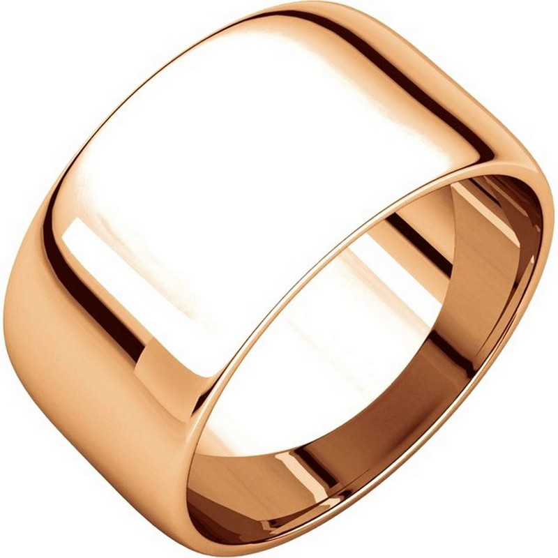 Item # S166926R - 14 kt Rose gold, 10.0 mm wide half round, wedding band. The whole ring is a polished finish. Different finishes may be selected or specified.