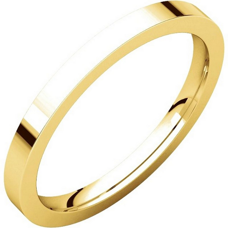 Item # S229561 - 14 ktGold plain 2.0 mm wide flat comfort fit wedding band. The ring is a polished finish. Different finishes may be selected or specified.