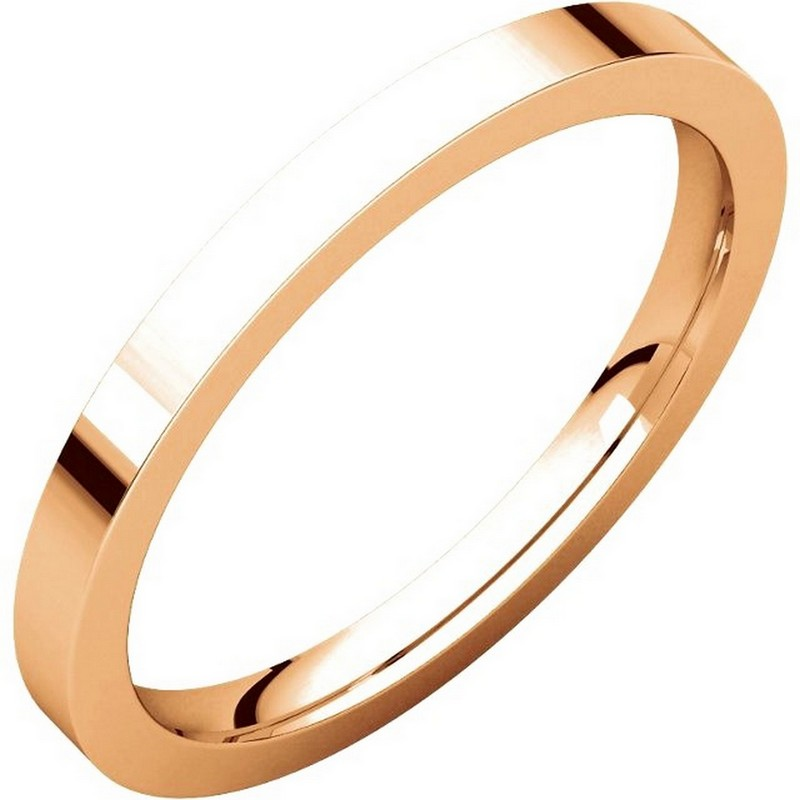 Item # S229561RE - 18 kt Rose gold plain 2.0 mm wide flat comfort fit wedding band. The ring is a polished finish. Different finishes may be selected or specified.